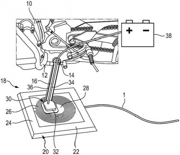 BMW предложила встроить беспроводную зарядку в подножку электромотоцикла