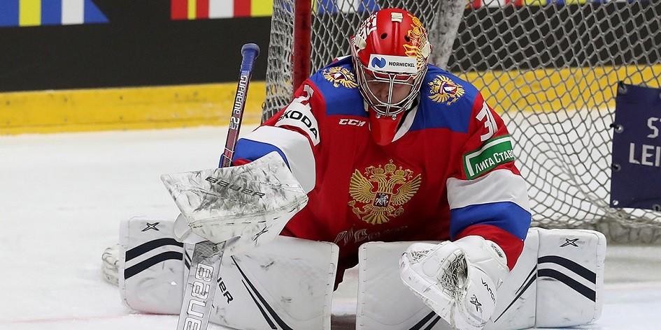 Самонов сыграет в воротах сборной России по хоккею в матче со шведами