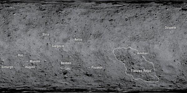 Детали рельефа на астероиде Бенну назвали в честь мифологических птиц