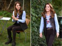 Голубая рубашка + узкие джинсы: удачный образ Кейт Миддлтон в стиле casual