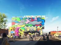 Стеклянный дом с граффити в Детройте