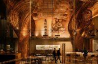 Инсталляция из ротанга в ресторане Spice & Barley