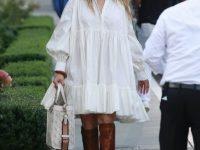 Лучший образ выходных: Дженнифер Лопес в викторианском платье-рубашке