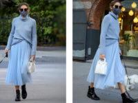 Все по Pantone: нежный образ Оливии Палермо в успокаивающем оттенке года