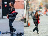 Два зимних образа модели Джоан Смоллс, которые очень подойдут высоким девушкам