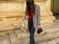 Пиджак в клетку + джинсы графитового оттенка: эффектный образ француженки Жюли Феррери