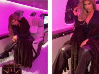 Сумка Birkin + шарф Bottega Veneta: путешественница Кайли Дженнер к полету готова