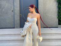 Мягкий корсет + трикотажные брюки: эффектный образ Кайли Дженнер