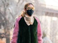 Зимняя нежность: Оливия Палермо в шубе колорблок и «зефирных» ботинках