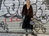 Виниловая юбка + леопардовая шубка: эффектный образ Оливии Палермо