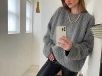 Пушистый свитер + кожаные брюки: универсальный и стильный образ Роузи Хантингтон-Уайтли