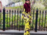 Как правильно сочетать шелковый костюм с шерстяным кардиганом: показывает Оливия Палермо