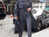 Прозрачный трикотаж на голое тело и идеальные серые брюки: Кендалл Дженнер в Нью-Йорке