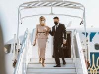Самый нежный розовый: Елена Зеленская на встрече с Эммануэлем и Бриджит Макрон в костюме украинского бренда