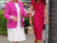Будущие королевы выбирают розовый: Кейт Миддлтон в безупречном платье на встрече с Джилл Байден