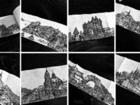 Искусство в самоизоляции: городские пейзажи на туалетной бумаге